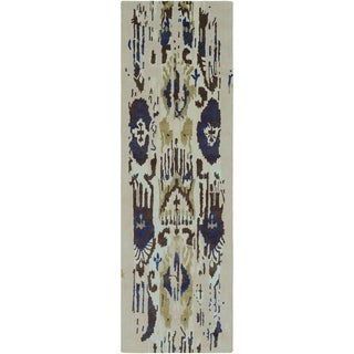 "Porch & Den Anzalone Brown and Blue Hand-tufted Wool Runner - 2'6"" x 8' Runner"