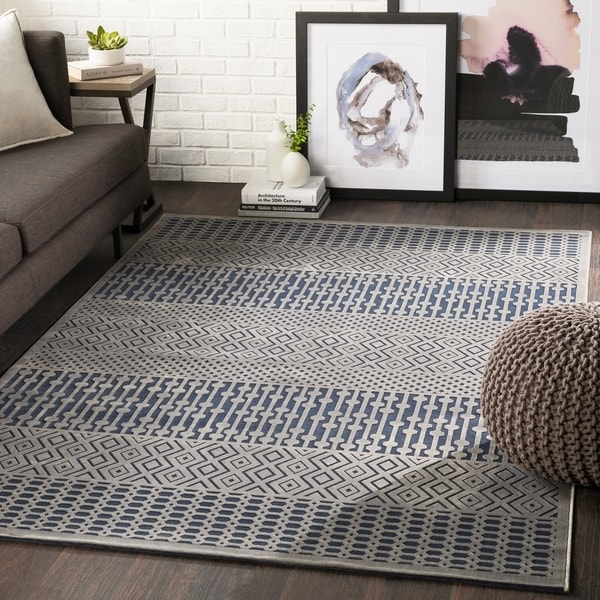 "Willie Navy Boho Chenille Area Rug - 5'2"" x 7'3"""