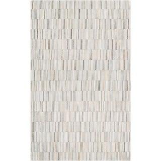 Handmade Richard Geometric Pattern Leather Area Rug - 6' x 9'