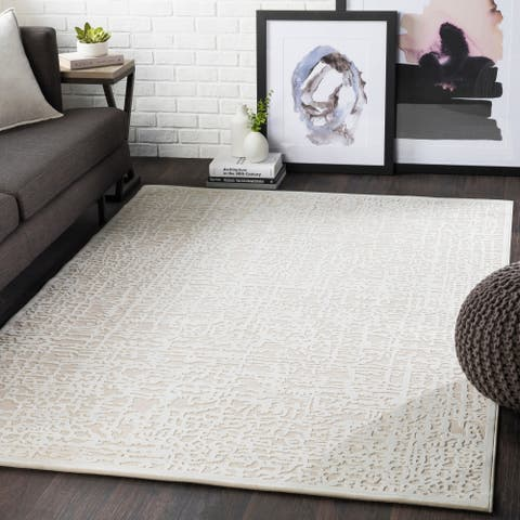"""Errol Beige Transitional Abstract Area Rug - 6'7"""" x 9'6"""""""