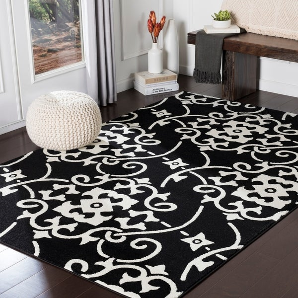 "Dorothea Black Transitional Scroll Area Rug - 6'7"" x 9'6"""