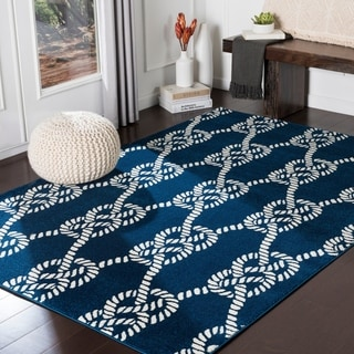 "Jessamine Navy Nautical Rope Area Rug - 5'3"" x 7'3"""