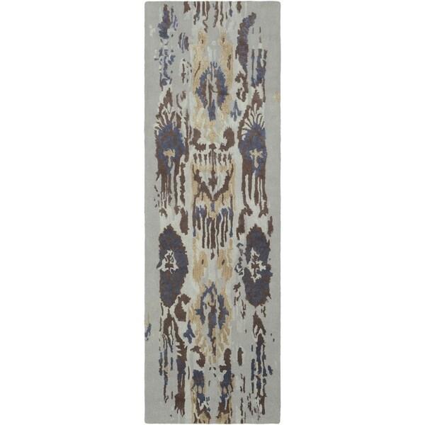 "Porch & Den Anzalone Brown Hand-tufted Wool Runner - 2'6"" x 8' Runner"