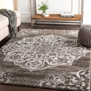 "Faron Brown Large Medallion Plush Area Rug - 5'3"" x 7'6"""