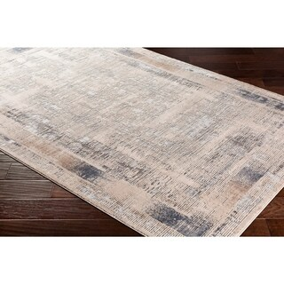 "Marjan Ivory Distressed Border Area Rug - 6'7"" x 9'6"""