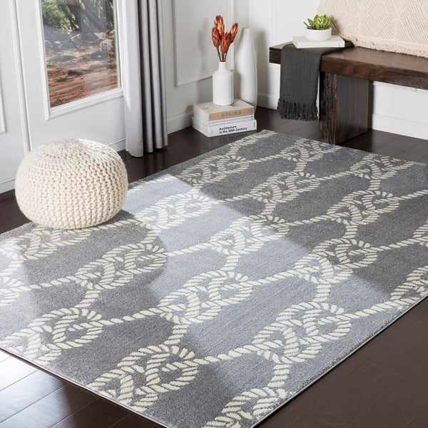 "Porch & Den Kaybern Grey Nautical Rope Area Rug - 6'7"" x 9'6"""