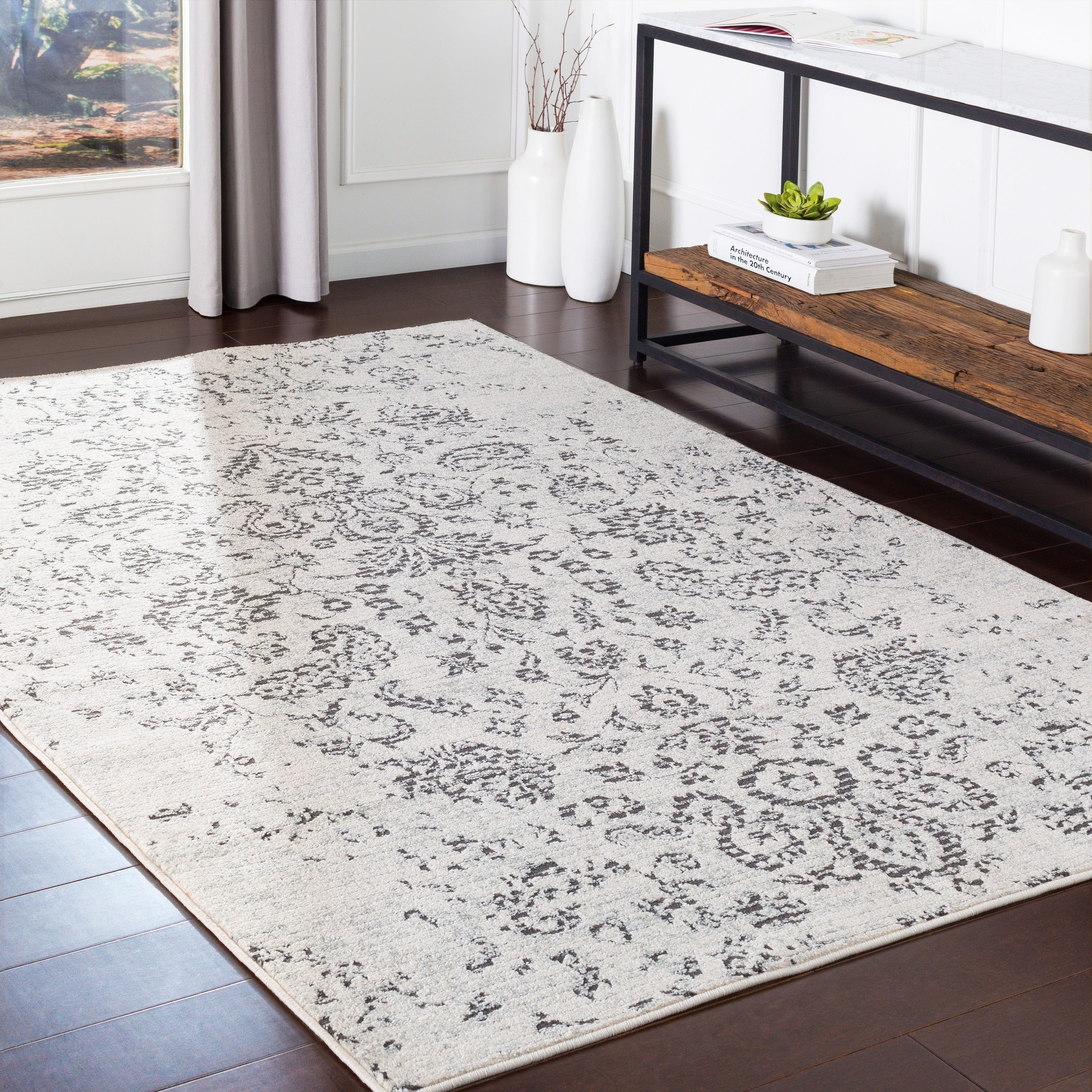 Taupe Distressed Traditional Area Rug