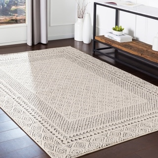 """The Curated Nomad Tiffany Grey Bohemian Border Area Rug - 3'11"""" x 5'7"""""""