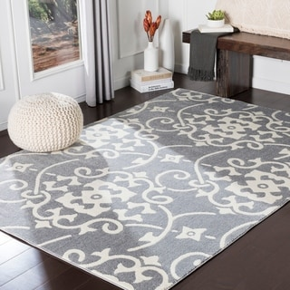 Dorothea Grey Transitional Scroll Accent Rug - 2' x 3'