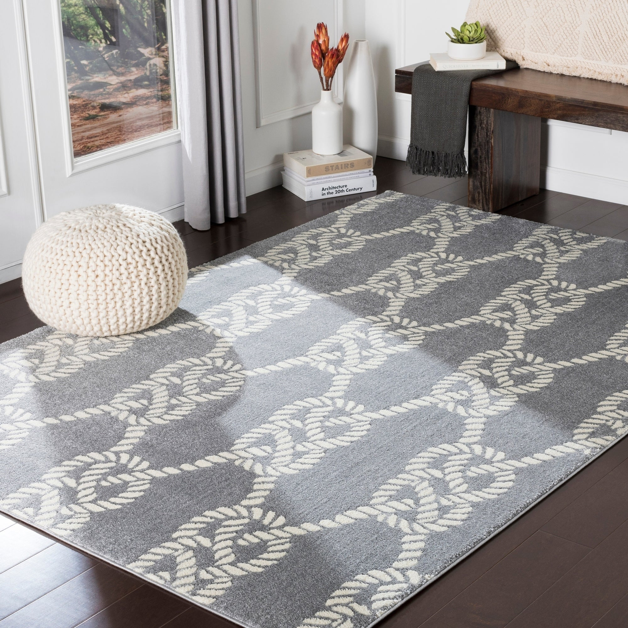 Jessamine Grey Nautical Rope Area Rug 5 3 X 7 3 On Sale Overstock 24046195