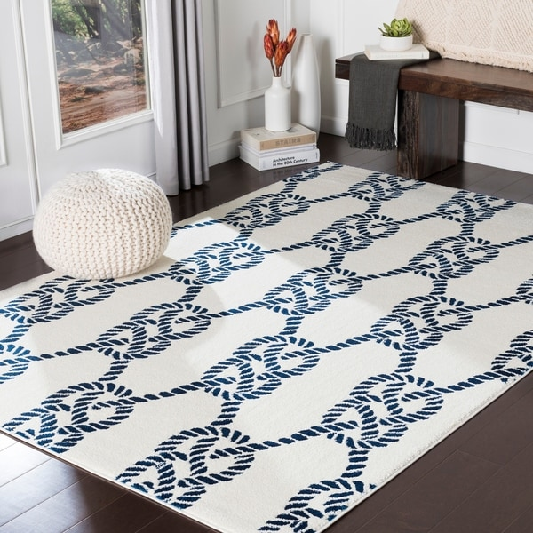 "Porch & Den Kaybern Cream and Navy Nautical Rope Area Rug - 5'3"" x 7'3"""