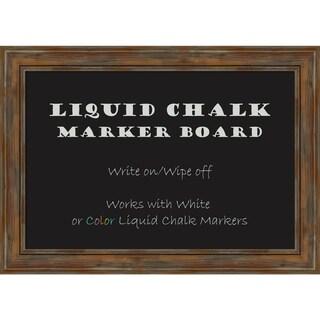Framed Liquid Chalk Marker Board, Alexandria Rustic Brown