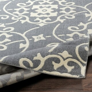 "Porch & Den Ivybridge Grey Transitional Scroll Area Rug - 5'3"" x 7'3"""