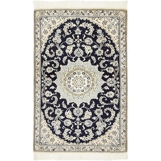 Hand Knotted Nain Silk & Wool Area Rug - 2' 11 x 4' 6