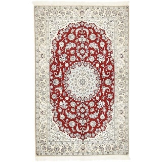 Hand Knotted Nain Silk & Wool Area Rug - 5' x 8'