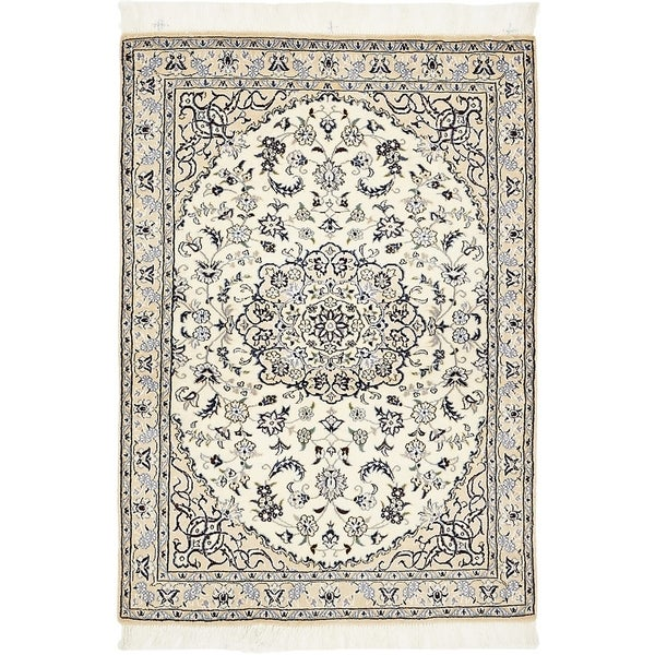 Hand Knotted Nain Silk & Wool Area Rug - 3' 2 x 4' 7