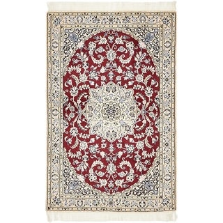 Hand Knotted Nain Silk & Wool Area Rug - 3' 3 x 5'