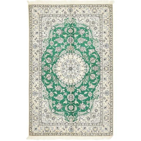 Hand Knotted Nain Silk & Wool Area Rug - 5' 1 x 8' 2