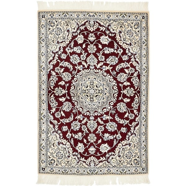 Hand Knotted Nain Silk & Wool Area Rug - 2' 11 x 4' 5