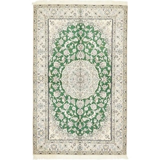 Hand Knotted Nain Silk & Wool Area Rug - 5' 1 x 8' 3