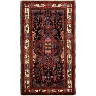 Hand Knotted Nahavand Semi Antique Wool Area Rug - 5' 3 x 9' 2