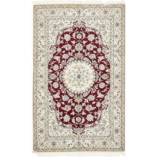Hand Knotted Nain Silk & Wool Area Rug - 5' 1 x 8' 4