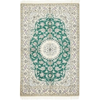 Hand Knotted Nain Silk & Wool Area Rug - 5' 2 x 8' 1