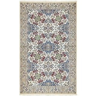 Hand Knotted Nain Silk & Wool Area Rug - 4' 6 x 7' 4