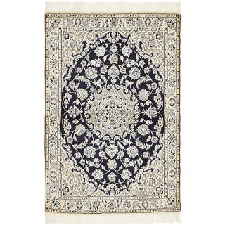 Hand Knotted Nain Silk & Wool Area Rug - 3' 3 x 4' 11