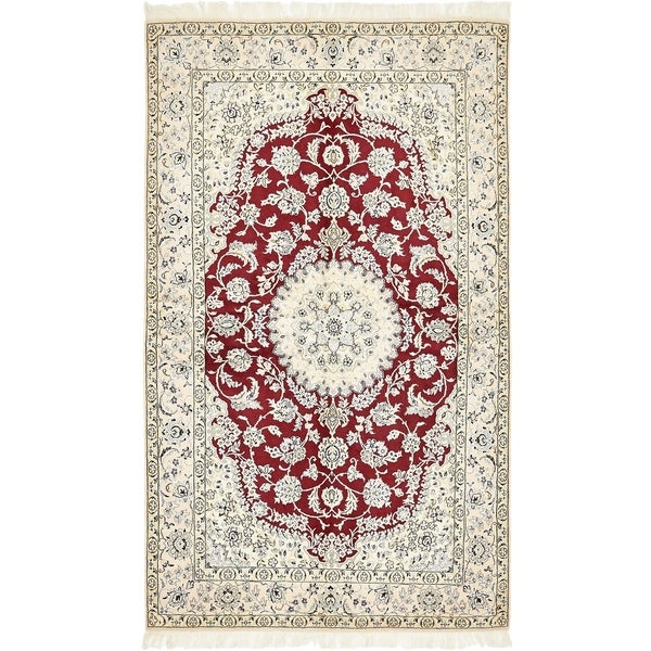 Hand Knotted Nain Silk & Wool Area Rug - 5' x 8' 5