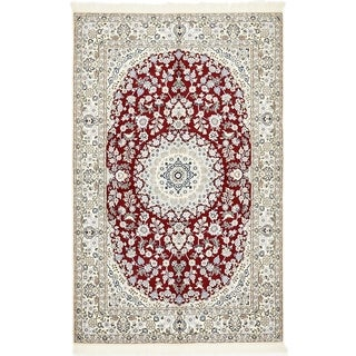 Hand Knotted Nain Silk & Wool Area Rug - 4' 11 x 8'