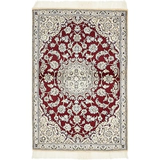 Hand Knotted Nain Silk & Wool Area Rug - 3' x 4' 6