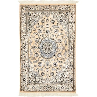 Hand Knotted Nain Silk & Wool Area Rug - 3' 1 x 4' 11