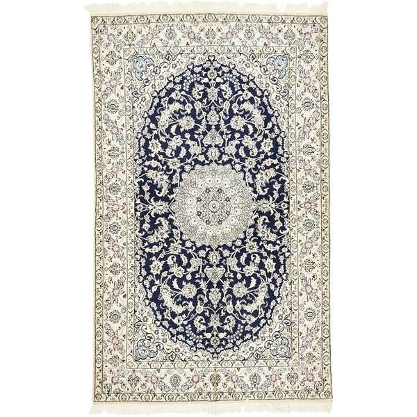 Hand Knotted Nain Silk & Wool Area Rug - 5' 1 x 8' 5