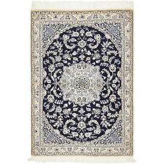 Hand Knotted Nain Silk & Wool Area Rug - 3' 3 x 4' 9