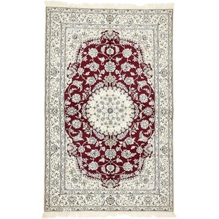 Hand Knotted Nain Silk & Wool Area Rug - 5' 2 x 8' 2