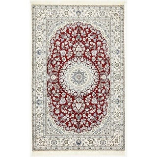 Hand Knotted Nain Silk & Wool Area Rug - 5' x 7' 11