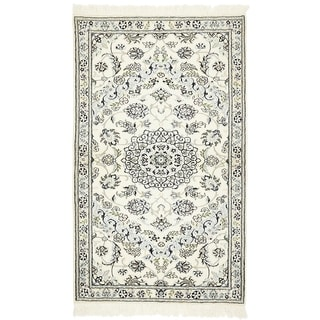 Hand Knotted Nain Silk & Wool Area Rug - 3' 2 x 5' 3