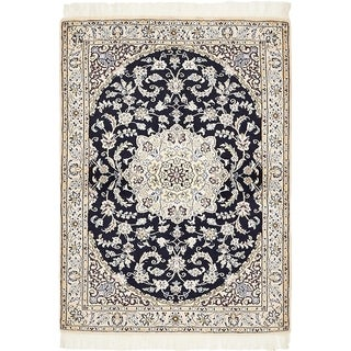 Hand Knotted Nain Silk & Wool Area Rug - 3' 3 x 4' 6