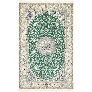 Hand Knotted Nain Silk & Wool Area Rug - 5' 2 x 8' 4