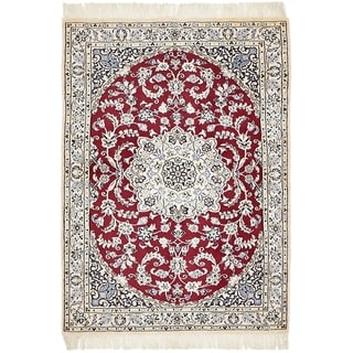 Hand Knotted Nain Silk & Wool Area Rug - 2' 3 x 4' 9