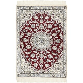 Hand Knotted Nain Silk & Wool Area Rug - 3' x 4' 4