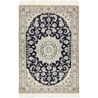 Hand Knotted Nain Silk & Wool Area Rug - 3' 3 x 4' 8