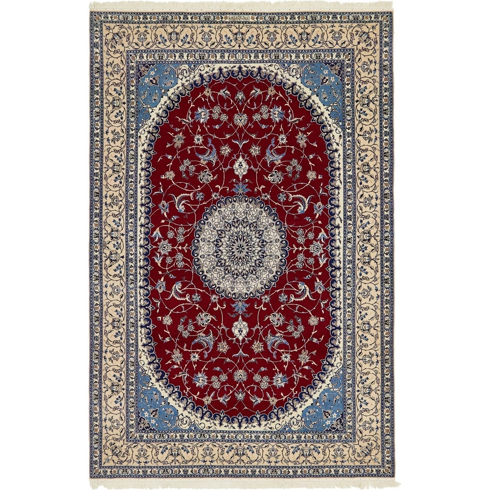 Hand Knotted Nain Silk & Wool Area Rug - 6' 8 x 10'