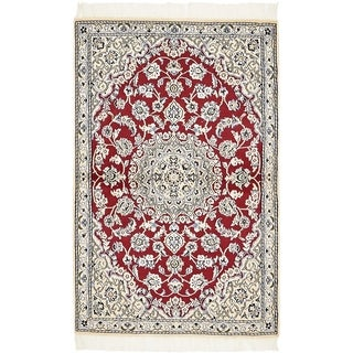 Hand Knotted Nain Silk & Wool Area Rug - 2' 10 x 4' 6