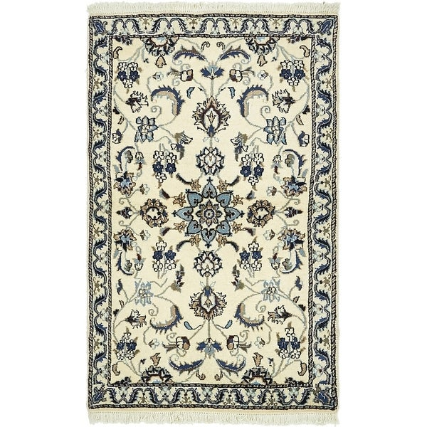 Hand Knotted Nain Silk & Wool Area Rug - 3' x 4' 9