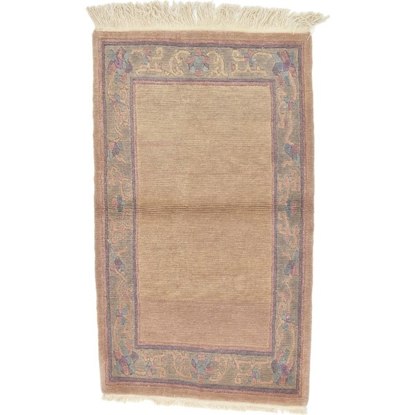Hand Knotted Nepal Wool Area Rug - 3' 2 x 5' 5