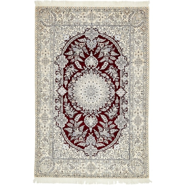 Hand Knotted Nain Silk & Wool Area Rug - 4' 10 x 7' 4