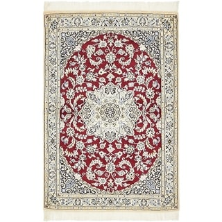 Hand Knotted Nain Silk & Wool Area Rug - 3' 3 x 4' 10
