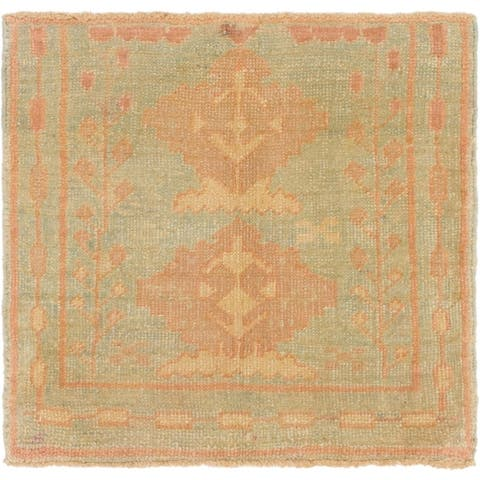 Hand Knotted Oushak Wool Square Rug - 2' 8 x 2' 10